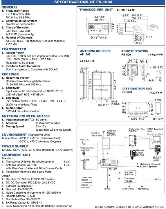 Furuno FS1503 SSB-HF Radio Technical Specifications and Dimensions