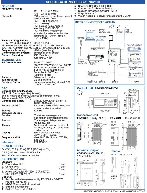 Furuno FS2570 SSB MF/HF Radio Technical Specifications and Dimensions