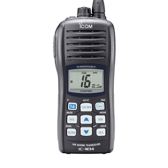 icom ic m34 marine vhf portable radio lithium ion battery. Black Bedroom Furniture Sets. Home Design Ideas