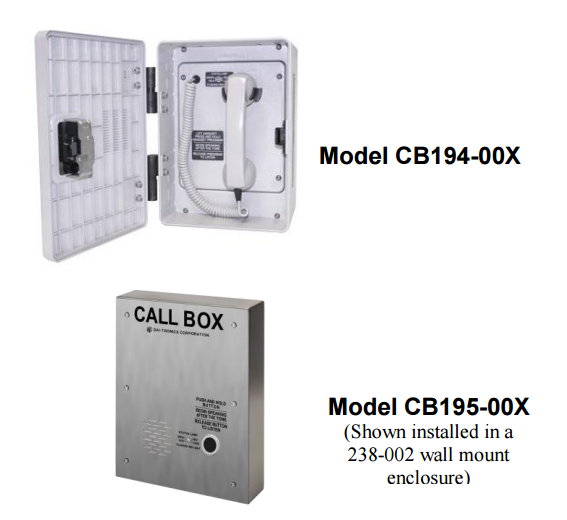 Gai-Tronics CB195-00X Series Call Boxes